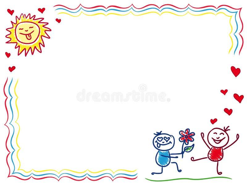 Il ragazzo dà un fiore ad una ragazza illustrazione vettoriale