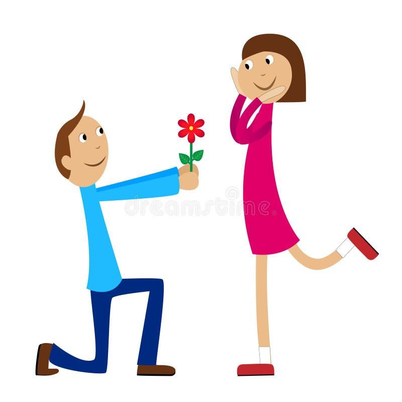 Il ragazzo dà un fiore alla ragazza illustrazione vettoriale