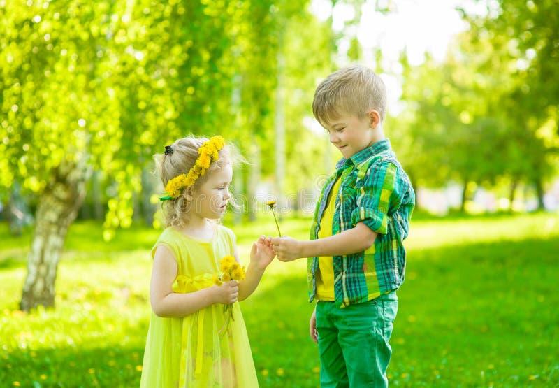 Il ragazzo d? una ragazza di fiore nel giorno di estate del parco fotografia stock
