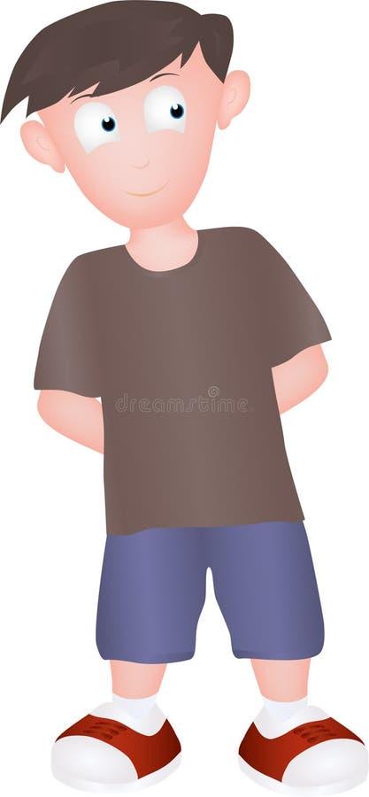 Il ragazzo del fumetto ha camminato sorridere felicemente royalty illustrazione gratis