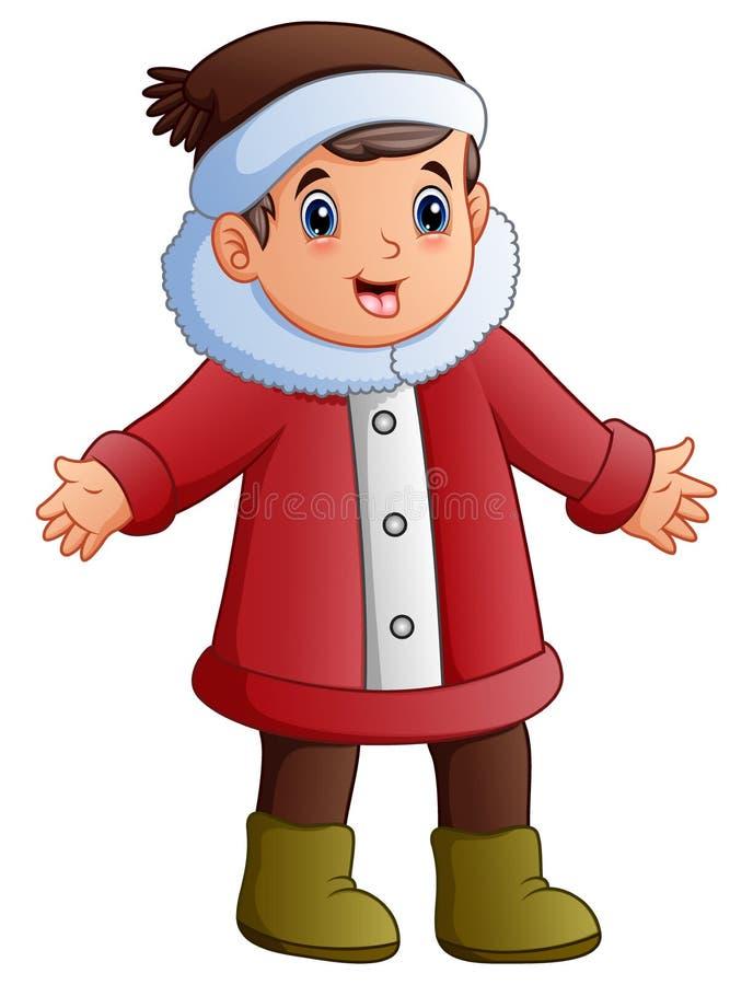 Il ragazzo del fumetto nell'inverno copre i canti natalizii di natale di canto illustrazione vettoriale