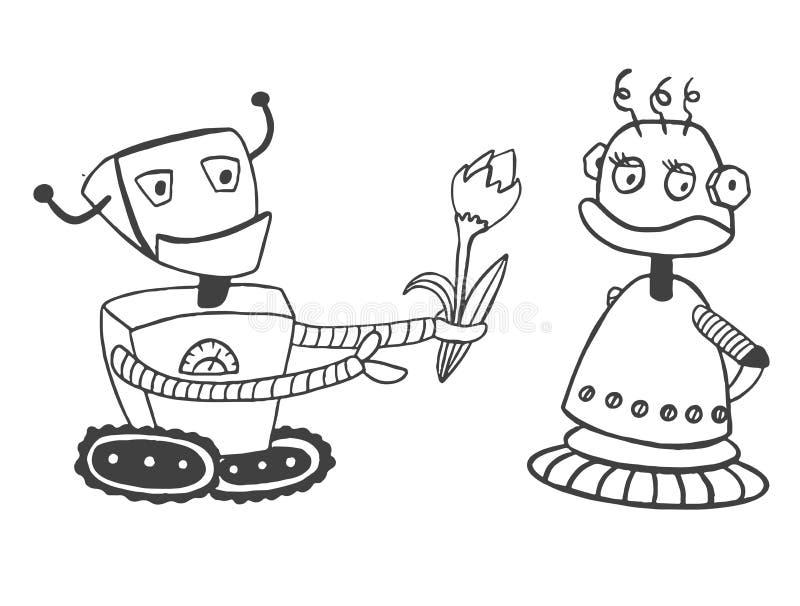 Il ragazzo del robot dà un fiore ad una ragazza del robot Pagina per colorare illustrazione di stock