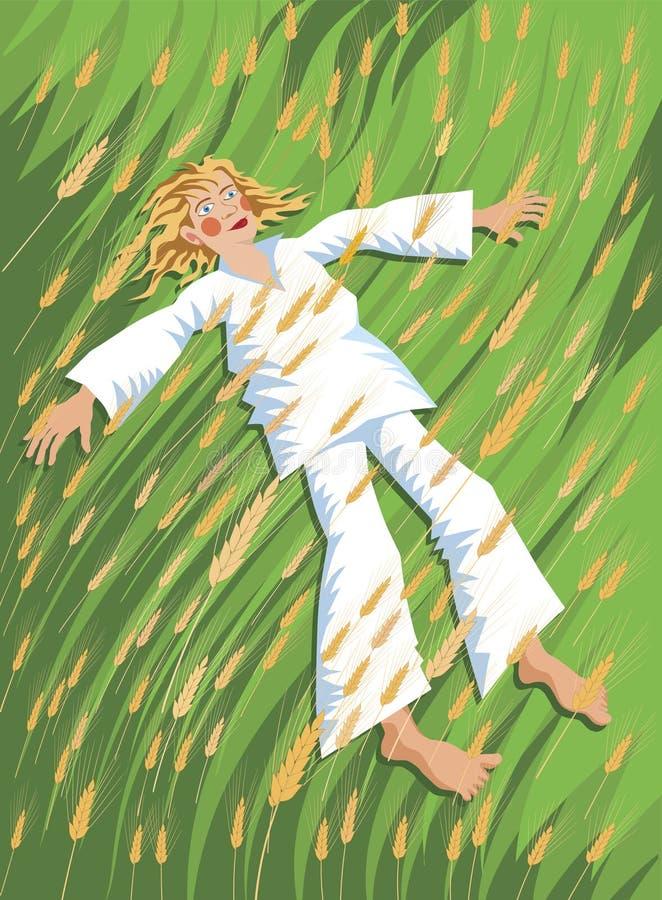 Il ragazzo del villaggio gode dell'ora legale illustrazione vettoriale