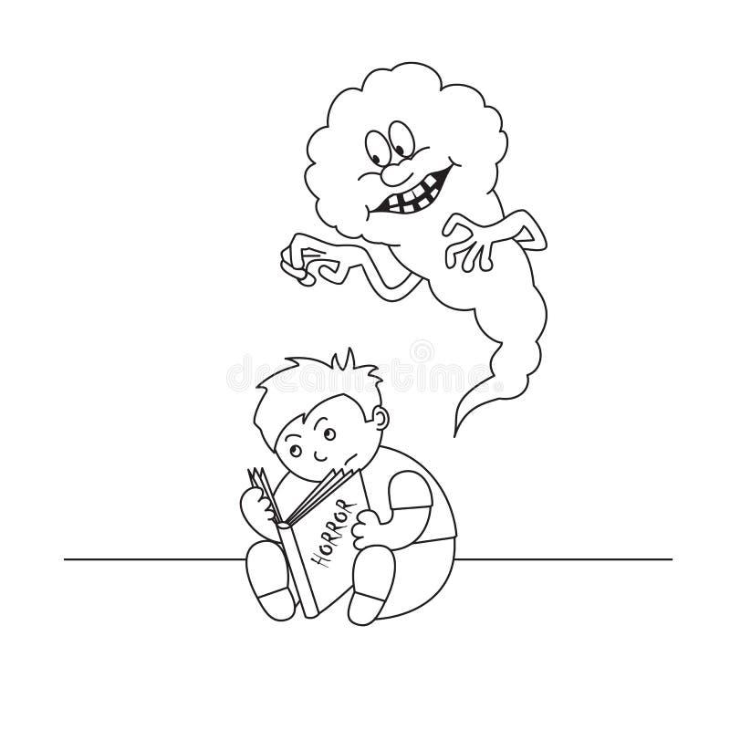 Il ragazzo dell'illustrazione di vettore legge il libro spaventoso, gli spaventi terribili il bambino, coloritura del fantasma de royalty illustrazione gratis