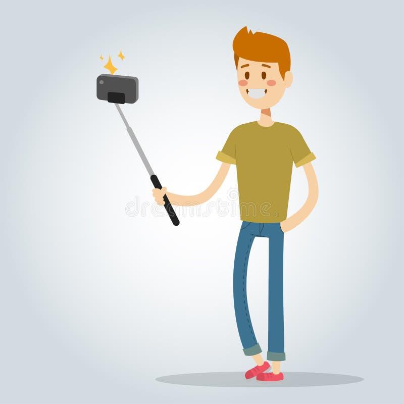 Il ragazzo dell'uomo di Selfie ha isolato la persona piana astuta dello smartphone della macchina fotografica dei pantaloni a vit illustrazione vettoriale