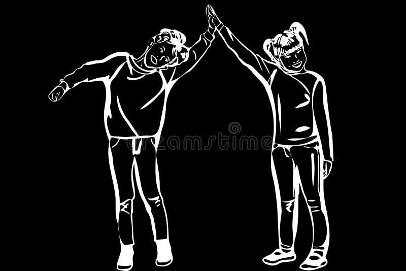 Il ragazzo e la ragazza di schizzo di vettore si tengono per mano illustrazione vettoriale