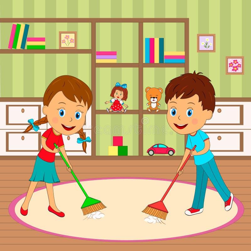 Il ragazzo e la ragazza sono stanza di pulizia illustrazione vettoriale
