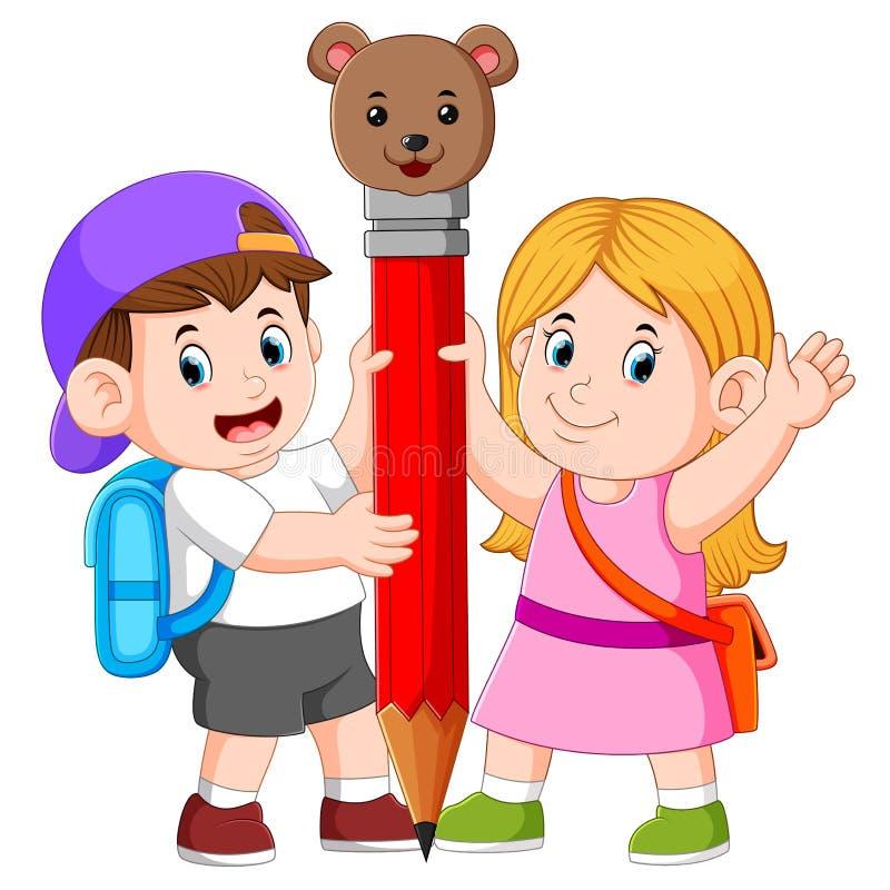 il ragazzo e la ragazza sta tenendo la grande matita royalty illustrazione gratis