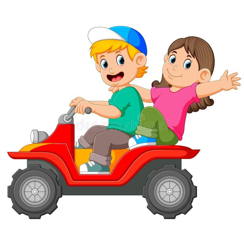 Il ragazzo e la ragazza stanno guidando insieme il ATV illustrazione di stock