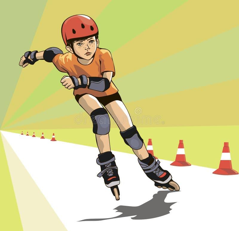 Il ragazzo esegue gli skatecross di un rullo illustrazione vettoriale