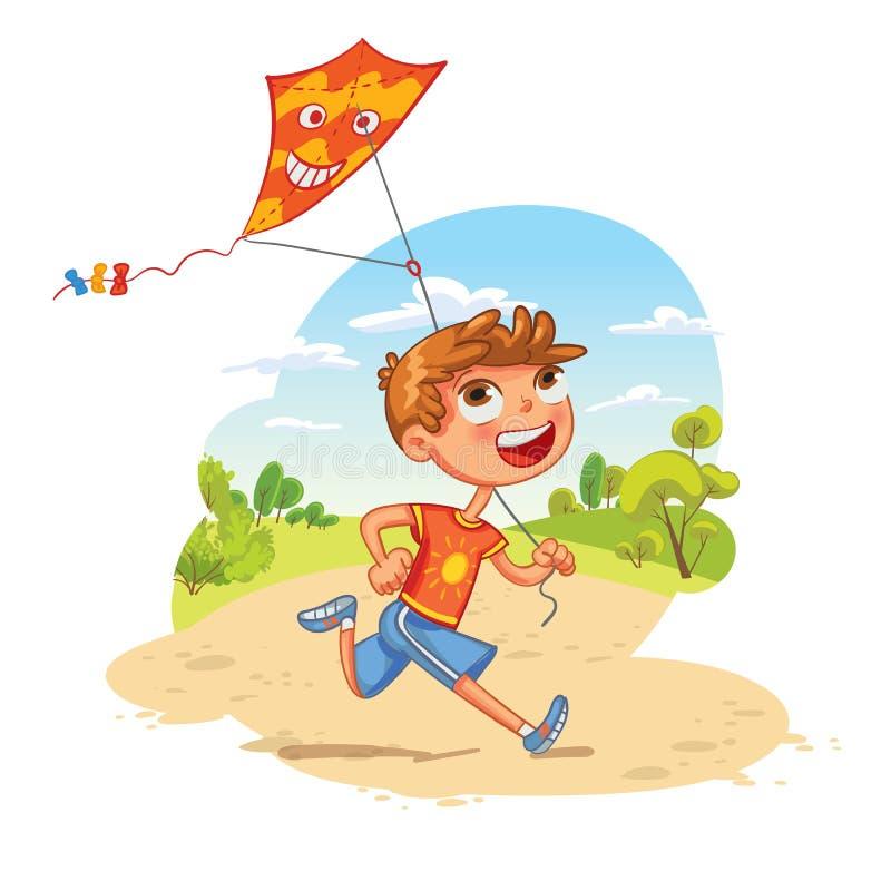 Il ragazzo gioca con un aquilone nel parco Personaggio dei cartoni animati divertente royalty illustrazione gratis