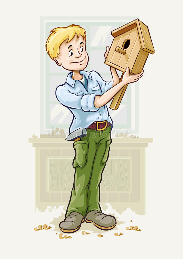 Il ragazzo ha fatto un storno-house illustrazione vettoriale