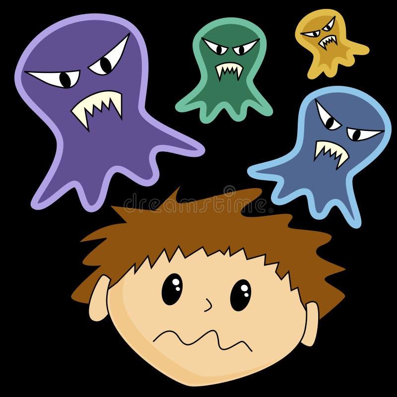 Il ragazzo ha spaventato dei fantasmi illustrazione di stock
