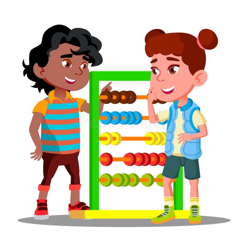 Il ragazzo insegna a per contare sul vettore della bambina di conti Illustrazione isolata illustrazione vettoriale