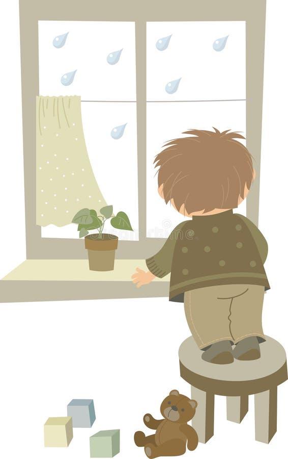 il ragazzo osserva fuori la finestra royalty illustrazione gratis