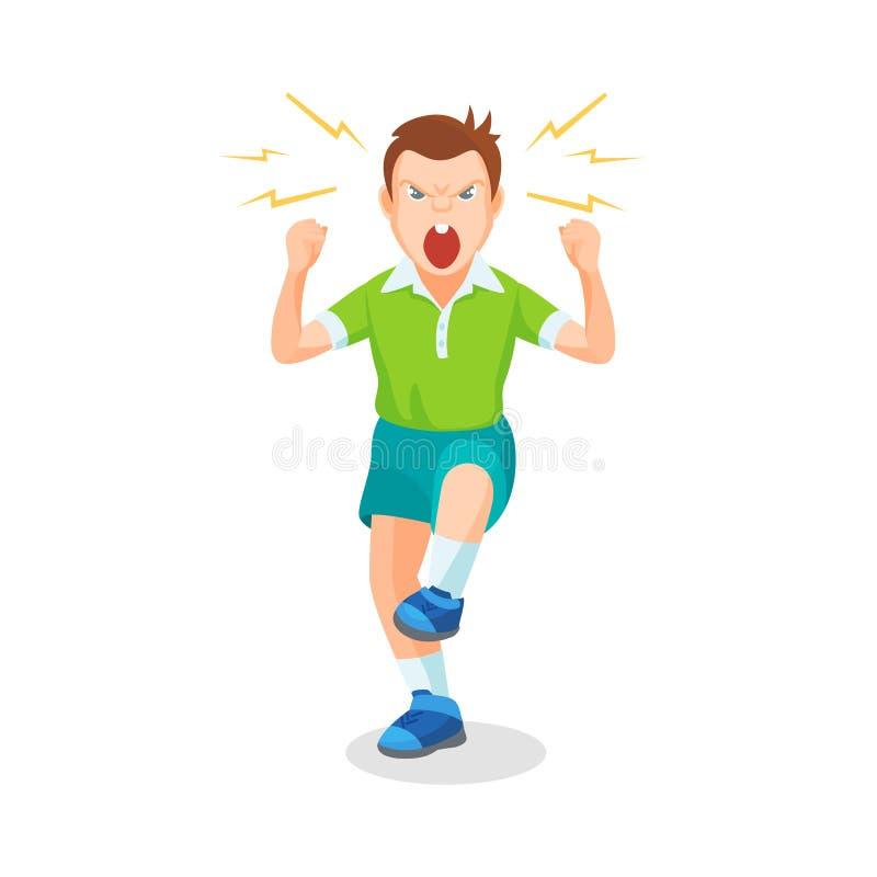 Il ragazzo in pieno di rabbia sta gridando qualcosa con aggressione royalty illustrazione gratis