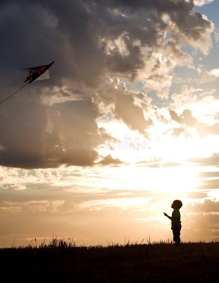 Il ragazzo pilota il cervo volante. fotografia stock libera da diritti