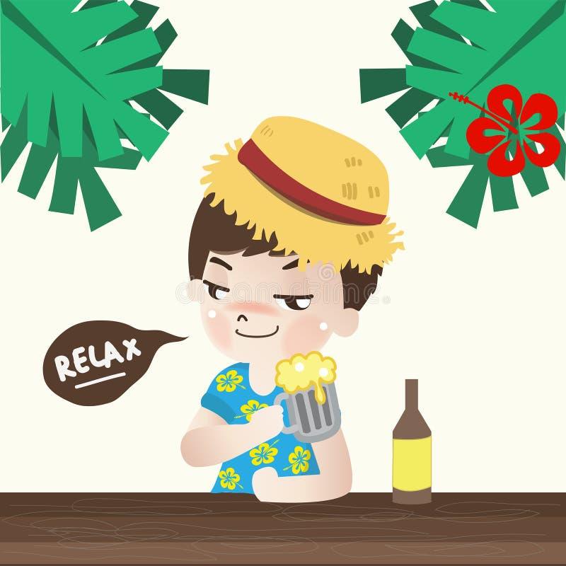 Il ragazzo rilassarsi con birra nella festa illustrazione di stock