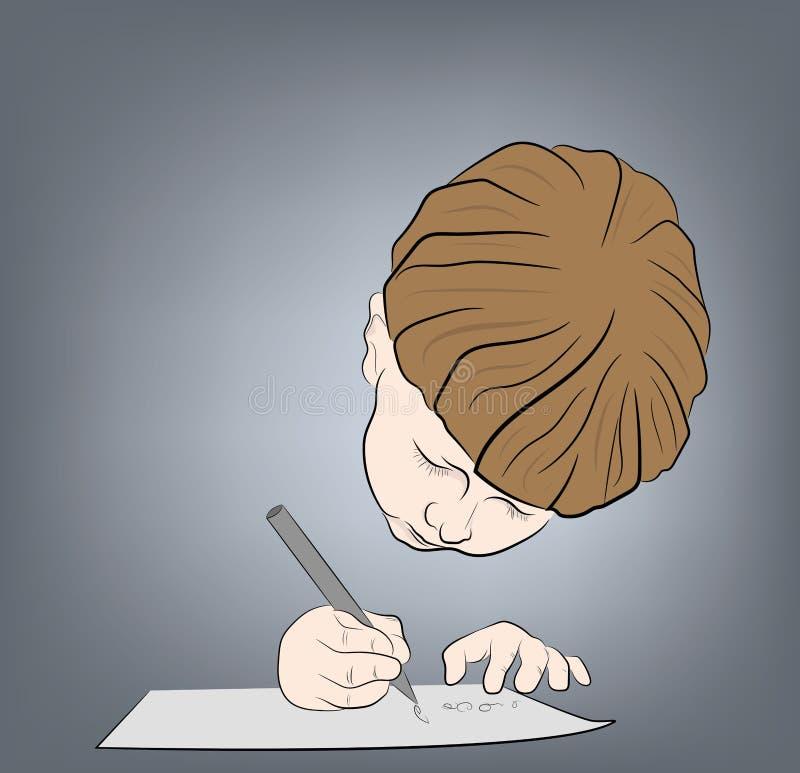 Il ragazzo scrive una lettera Illustrazione di vettore illustrazione di stock
