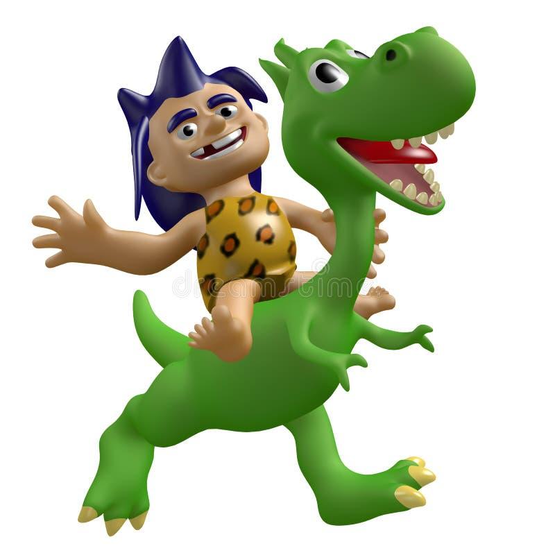Il ragazzo selvaggio divertente guida su un dinosauro sveglio illustrazione 3D royalty illustrazione gratis