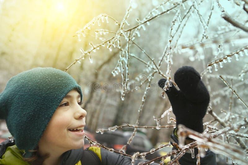 Il ragazzo si diverte con congelato nei rami di albero del ghiaccio fotografia stock libera da diritti