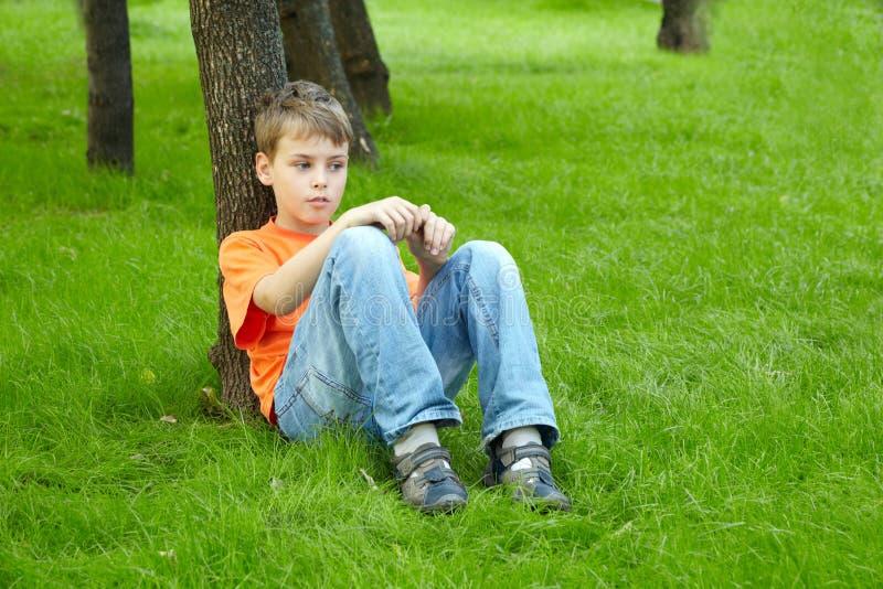 Il ragazzo si siede con il fronte premuroso su erba immagine stock libera da diritti