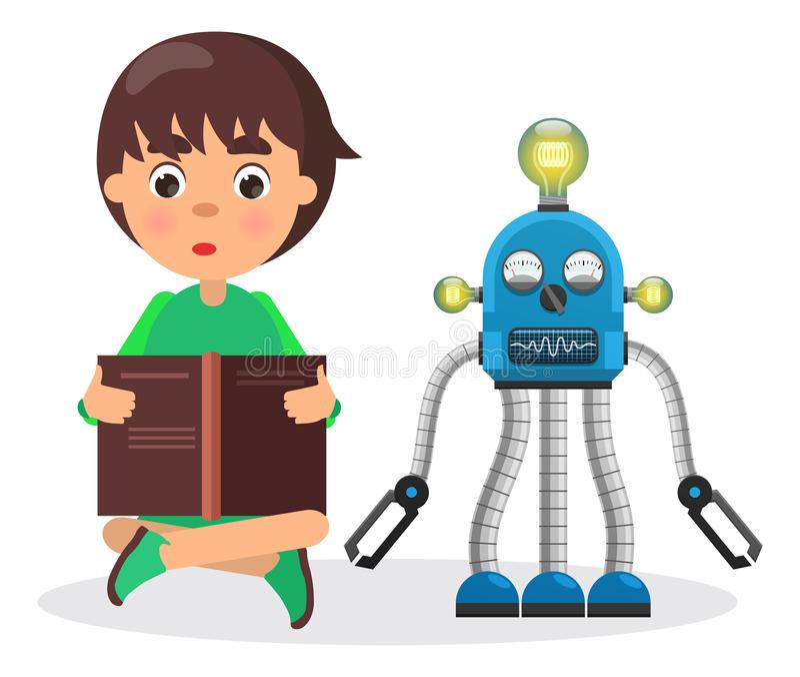 Il ragazzo si siede e legge il libro accanto al robot con le lampade illustrazione vettoriale