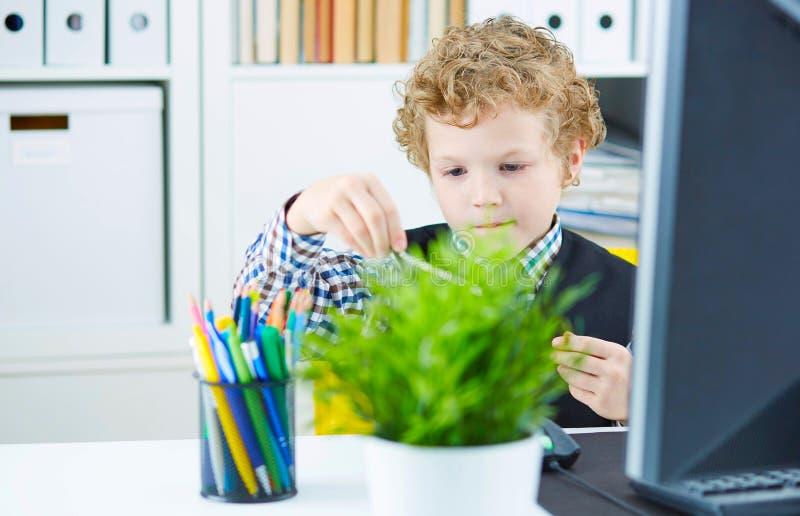 Il ragazzo sotto forma di impiegato di concetto gioca con i divisori fotografia stock libera da diritti