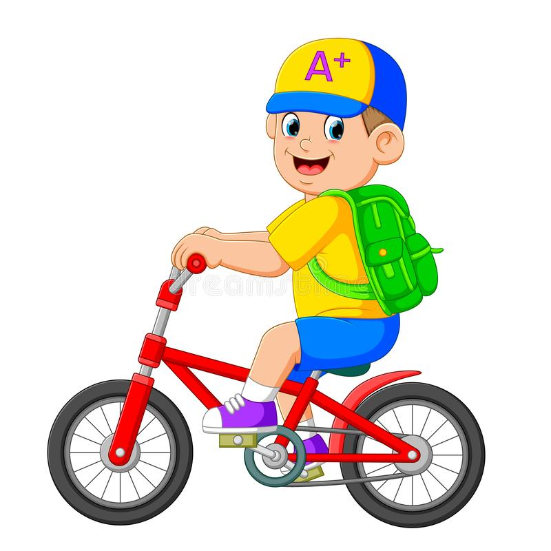 Il ragazzo sta andando la scuola con la bicicletta rossa royalty illustrazione gratis