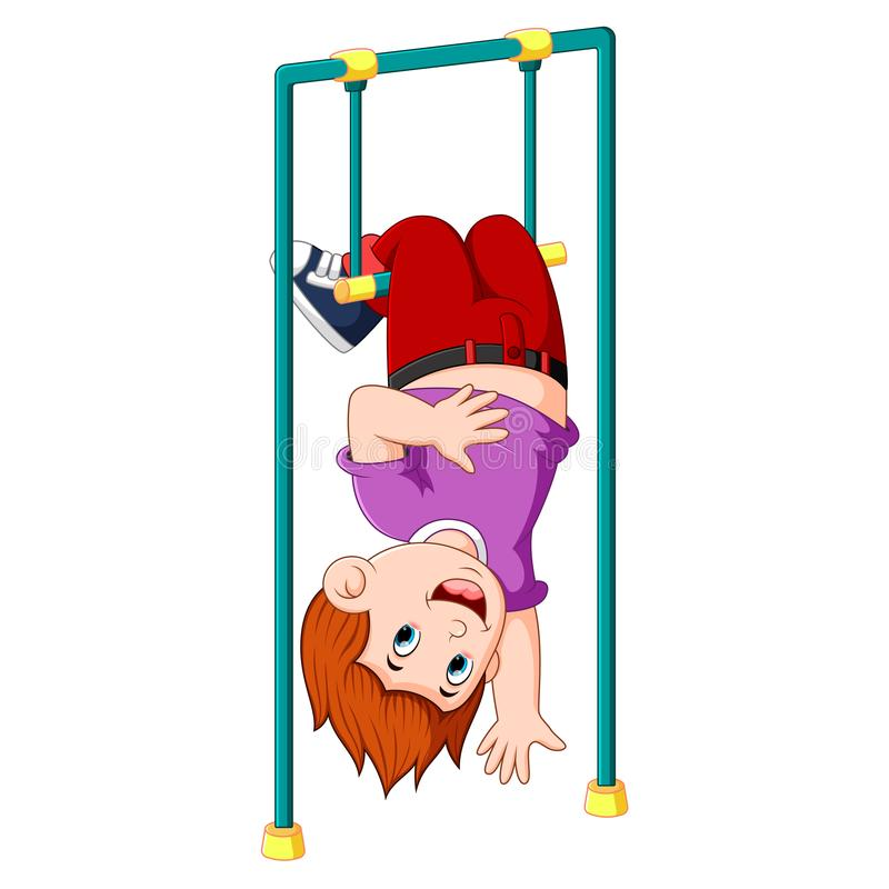 Il ragazzo sta appendendo sulla barra di scimmia con è gambe sulla cima illustrazione vettoriale