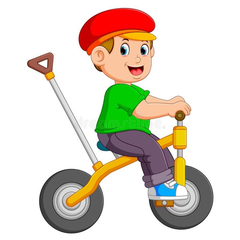 Il ragazzo sta ciclando sulla bicicletta gialla con il supporto illustrazione vettoriale
