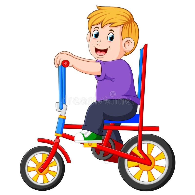 Il ragazzo sta ciclando sulla bicicletta variopinta illustrazione vettoriale