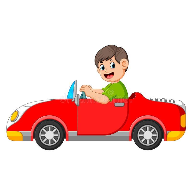 Il ragazzo sta conducendo l'automobile rossa con la buona posa illustrazione di stock