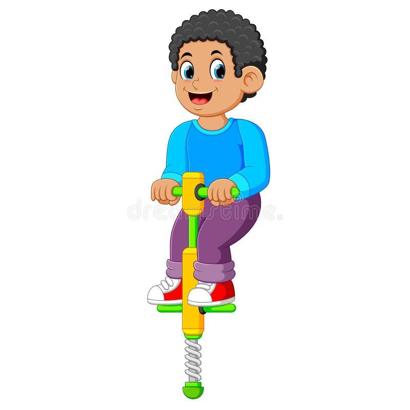 il ragazzo sta giocando con il bastone di salto con il fronte felice illustrazione vettoriale