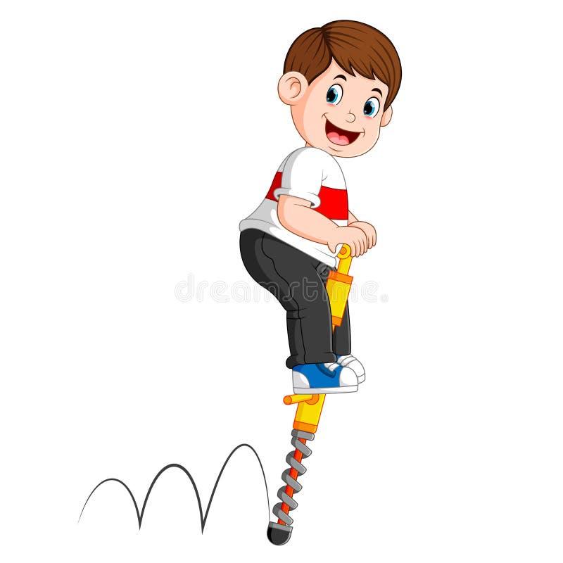 Il ragazzo sta giocando con il bastone di salto illustrazione di stock