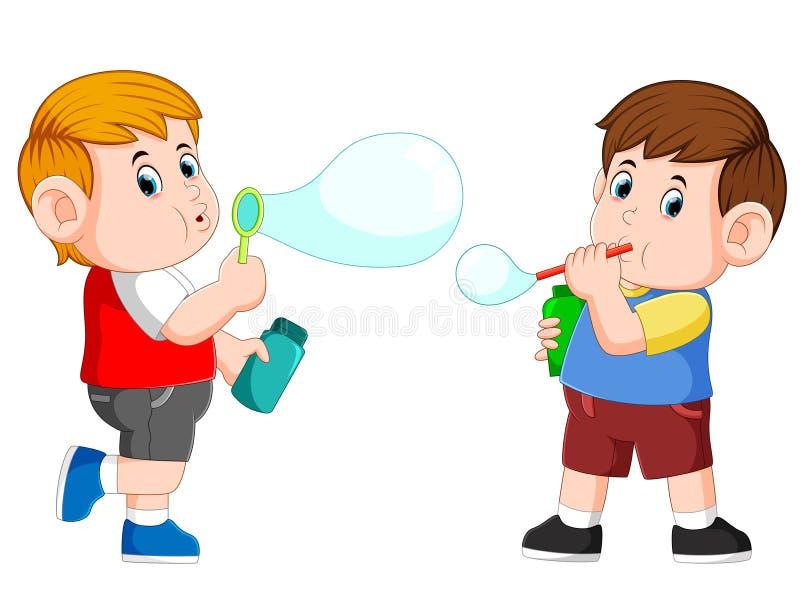 Il ragazzo sta giocando con il sapone della bolla e lo soffia illustrazione di stock