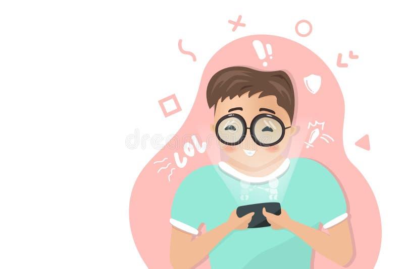 Il ragazzo sta giocando il gioco sul telefono cellulare, tecnologia digitale, stile di vita che si rilassa, studente adolescente, illustrazione di stock