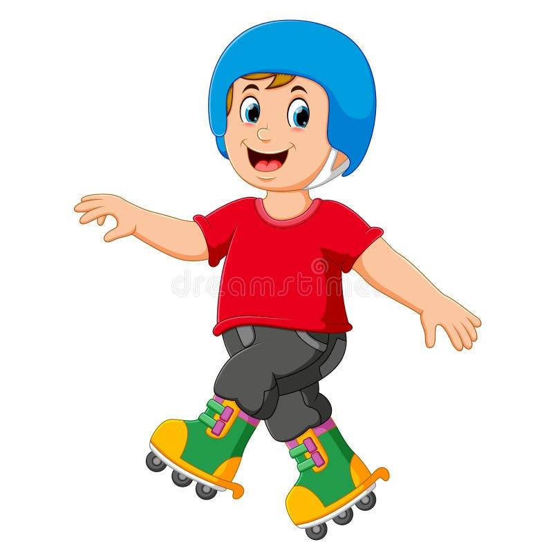 il ragazzo sta giocando i pattini di rullo e sta usando il casco illustrazione di stock