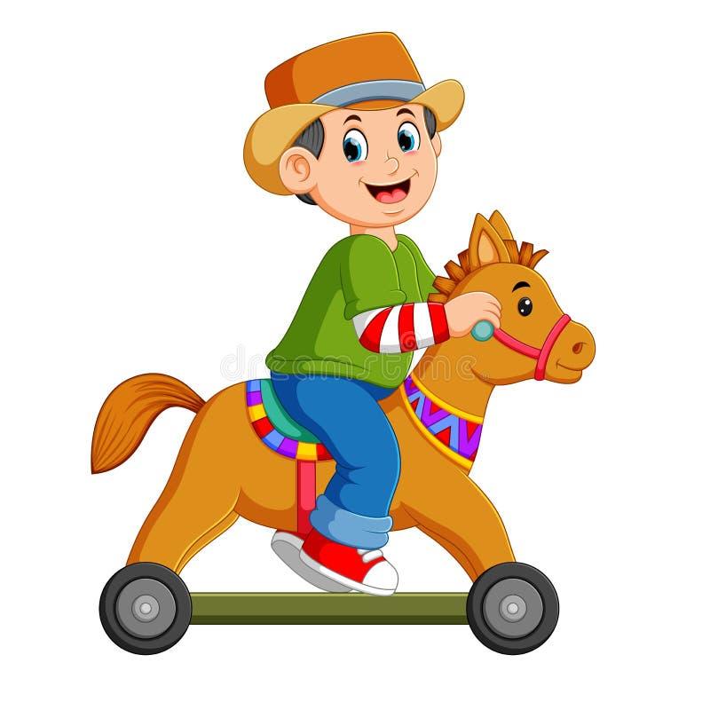 Il ragazzo sta giocando sul giocattolo del cavallo con le ruote illustrazione vettoriale