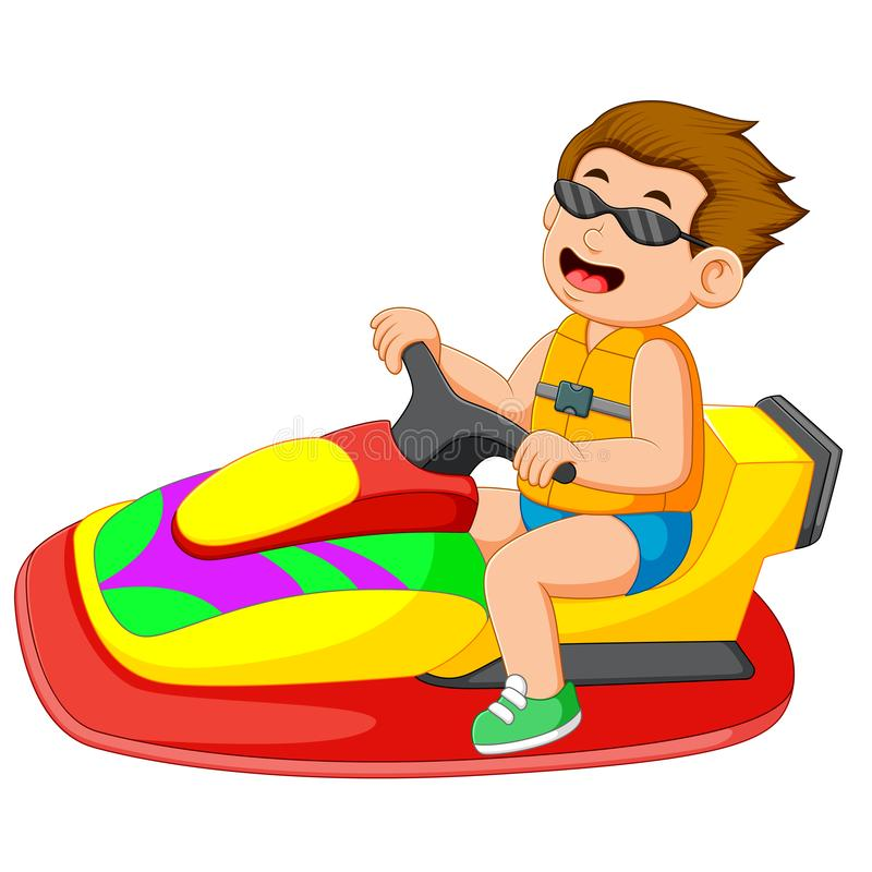 il ragazzo sta guidando il jet ski illustrazione vettoriale