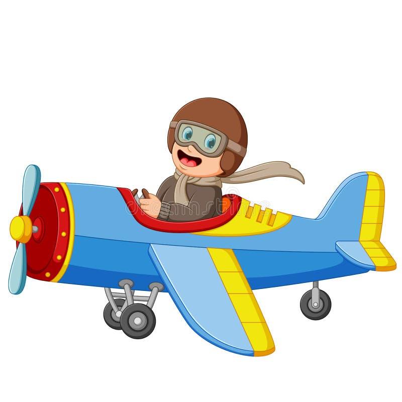 Il ragazzo sta pilotando un aereo con il fronte felice royalty illustrazione gratis