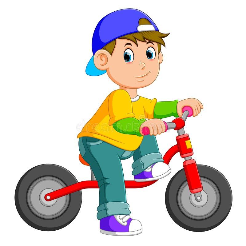 Il ragazzo sta posando sulla bicicletta rossa royalty illustrazione gratis