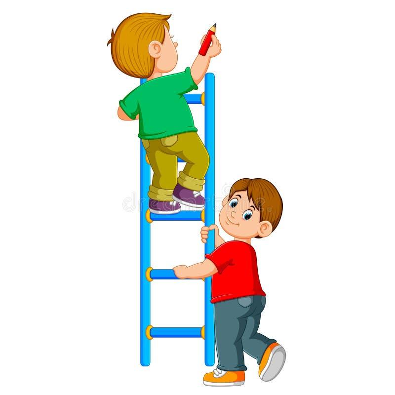 Il ragazzo sta scrivendo sul ledder ed il suo amico sta tenendolo illustrazione vettoriale