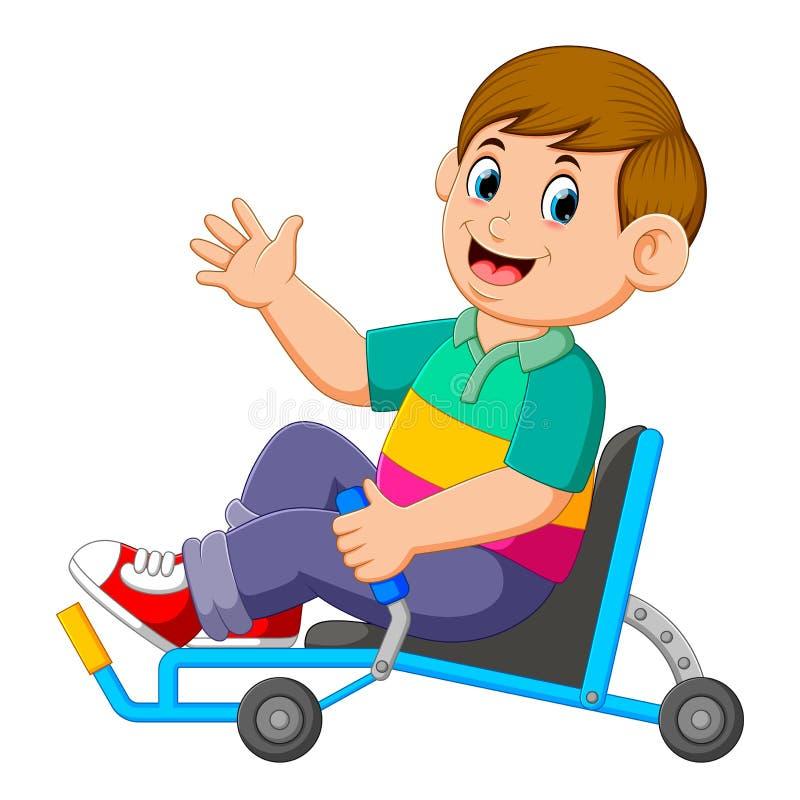 il ragazzo sta sedendosi sul triciclo sdraiato e sta tenendo il regolatore illustrazione vettoriale