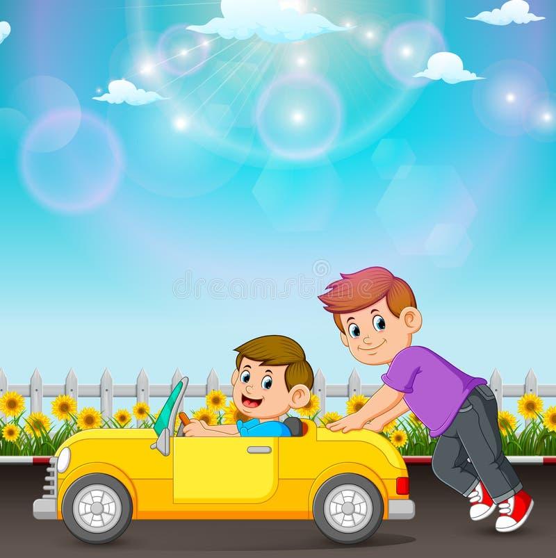 Il ragazzo sta spingendo l'automobile del suo amico nella strada illustrazione di stock