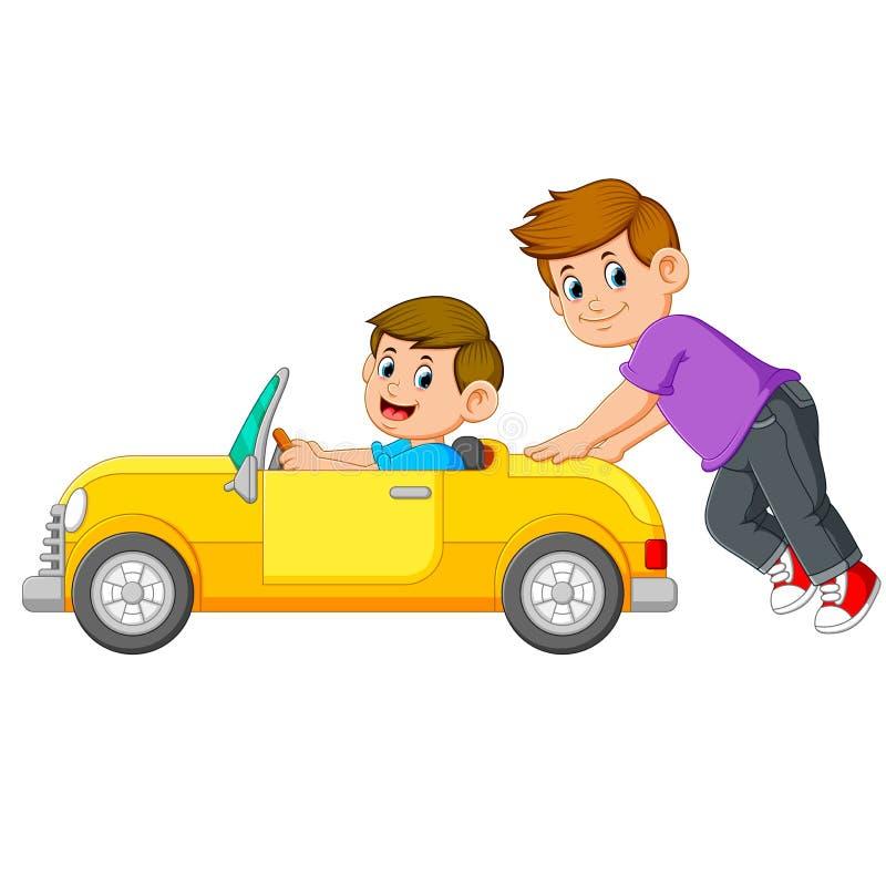 Il ragazzo sta spingendo l'automobile gialla con il suo amico su  illustrazione di stock