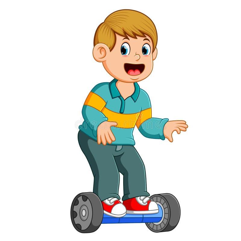 Il ragazzo sta stando sull'equilibrio astuto elettrico del motorino royalty illustrazione gratis