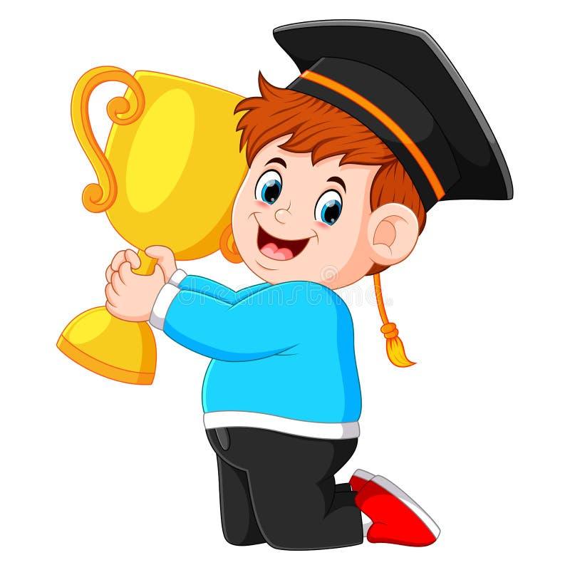 Il ragazzo sta tenendo il trofeo nel suo giorno di graduazioni royalty illustrazione gratis
