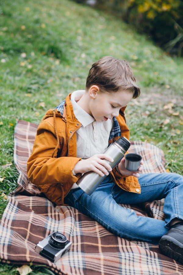 Il ragazzo sveglio cammina e posa in un parco variopinto di autunno immagini stock libere da diritti