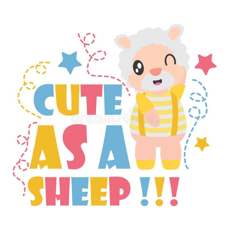 Il ragazzo sveglio delle pecore è illustrazione felice del fumetto per progettazione del fondo della maglietta del bambino royalty illustrazione gratis